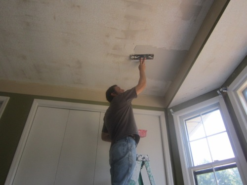 Skim coating a ceiling after popcorn/texture removal